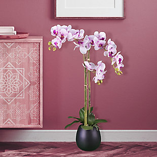 32-inch Pink Orchid in Black Ceramic Pot, , rollover