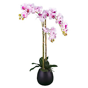 32-inch Pink Orchid in Black Ceramic Pot, , large