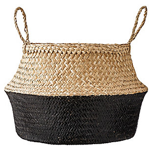 Large Black and Beige Seagrass Folding Basket with Handles, , large