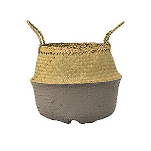 Medium Beige and Gray Collapsible Seagrass Basket with Handles, , large