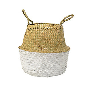 Beige and White Seagrass Folding Basket with Handles, , large