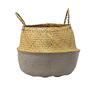 Beige and Gray Seagrass Folding Basket with Handles, , large