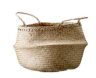 Large Beige Collapsible Seagrass Basket with Handles, , rollover