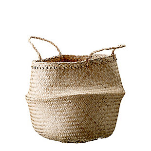 Medium Beige Collapsible Seagrass Basket with Handles, , large