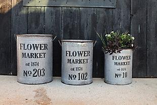 Metal Flower Market Buckets (Set of 3 Sizes), , rollover