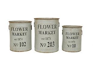 Metal Flower Market Buckets (Set of 3 Sizes), , large