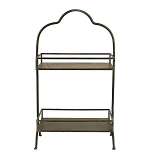 Decorative Metal 2 Tier Tray with Handle, , large