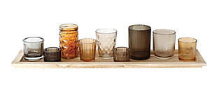 Wood Tray with Brown Glass Votive Holders (Set of 9), , large