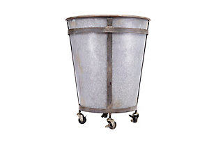 Tin Planter on Caster Wheels, , large