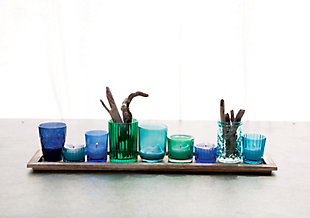 Wood Tray with Blue and Green Glass Votive Holders (Set of 9), , rollover