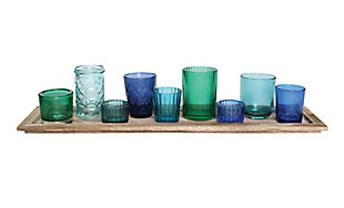 Wood Tray with Blue and Green Glass Votive Holders (Set of 9), , large