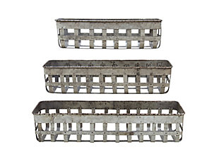 Rectangle Open Weave Iron Baskets (Set of 3), , large