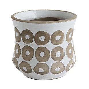 White Pot with Circle Print, , large