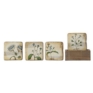 Floral Resin Coasters in Wood Box (Set of 4), , large