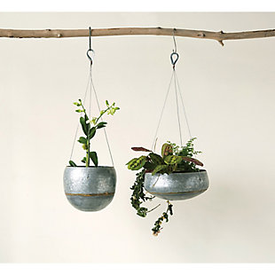 Silver Metal Hanging Planter with Gold Accent, , rollover
