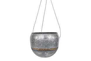 Silver Metal Hanging Planter with Gold Accent, , large