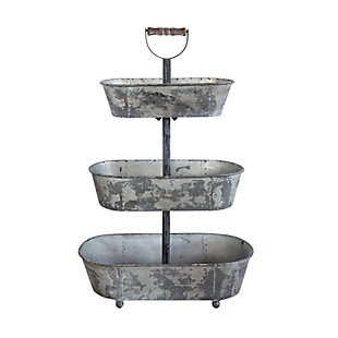 Metal 3 Tier Container with Wood Handle, , large