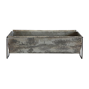 Metal Trough Container with Distressed Zinc Finish, , large