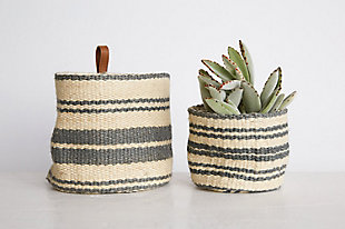 Cream and Blue Striped Jute Wall Baskets with Leather Loops (Set of 2), , rollover