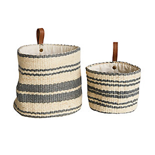 Cream and Blue Striped Jute Wall Baskets with Leather Loops (Set of 2), , large