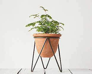 Terracotta Pot with Metal Stand, , rollover