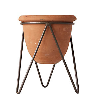 Terracotta Pot with Metal Stand, , large