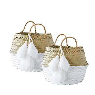 White Collapsible Palm Leaf Baskets with Tassels (Set of 2), , large