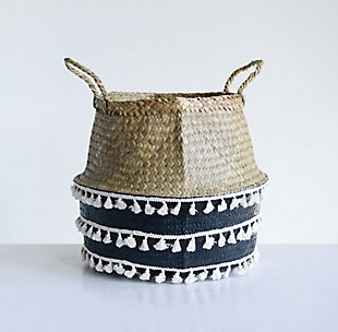 Black Natural Seagrass Collapsible Basket with Handles and White Tassels, , rollover