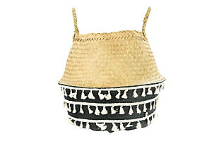 Black Natural Seagrass Collapsible Basket with Handles and White Tassels, , large
