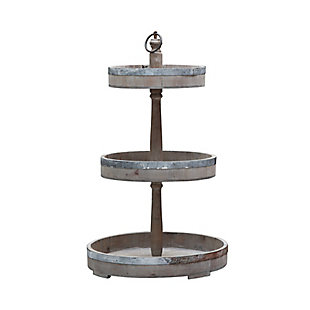 Decorative Wood and Tin 3 Tier Tray, , large