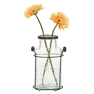 Glass Vase in Metal Stand with Metal Frog Lid, , large