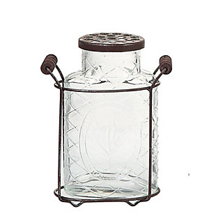 Large Glass Vase with Frog Lid and Holder, , large
