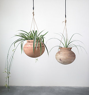 Large Hanging Clay Pot with Jute Hanger, , rollover