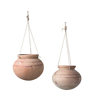 Large Hanging Clay Pot with Jute Hanger, , large