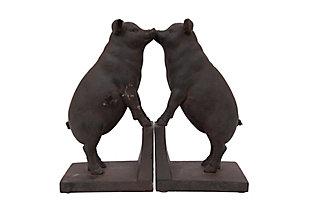 Black Resin Pig Shaped Bookends (Set of 2), , large