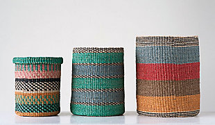 Bright Stripes Handwoven Abaca Baskets (Set of 3), , rollover