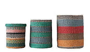 Bright Stripes Handwoven Abaca Baskets (Set of 3), , large