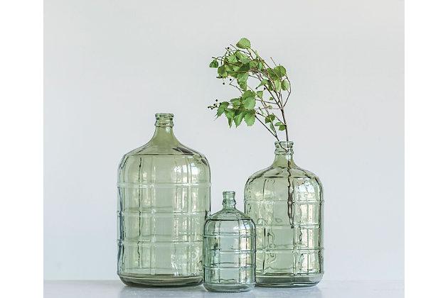 Large Green Vintage Glass Bottle with Embossed Design, , large