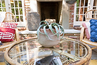 Large Woven Water Hyacinth Lantern with Glass Insert and Handle, , rollover
