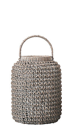 Medium Woven Water Hyacinth Lantern with Glass Insert and Handle, , large