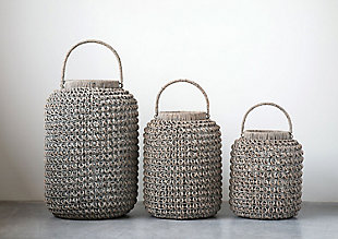 Small Woven Water Hyacinth Lantern with Glass Insert and Handle, , rollover