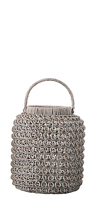 Small Woven Water Hyacinth Lantern with Glass Insert and Handle, , large