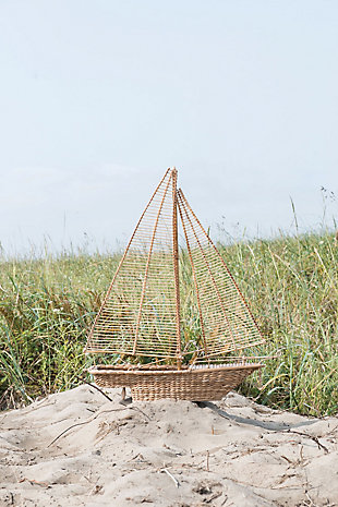 Handwoven Water Hyacinth and Rattan Sailboat, , rollover