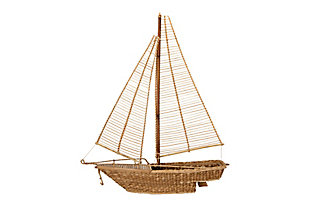 Handwoven Water Hyacinth and Rattan Sailboat, , large