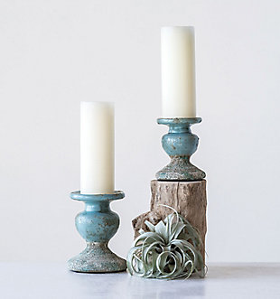 Small Distressed Blue Terracotta Pillar Candleholder, , rollover