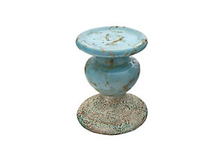 Small Distressed Blue Terracotta Pillar Candleholder, , large