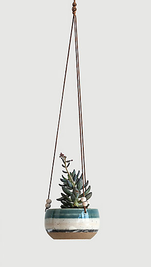 Blue, White and Brown Striped Stoneware Hanging Planter, , rollover
