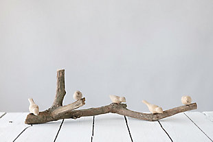 Driftwood Branch with Hand-Carved Mango Wood Birds, , rollover