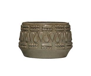 """Embossed Stoneware Planter with Glaze Finish (Holds 4"""" Pot), , large"""