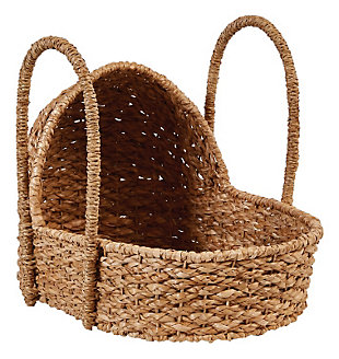 Handwoven Seagrass Doll Bassinet with Handles, , large